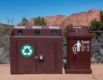 Metal Recycle Bin and Trash Can Stock Photography