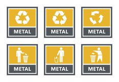 Metal recycling labels set, waste sorting icons royalty free illustration