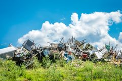 Pile of metallic waste at at recycling site stock image