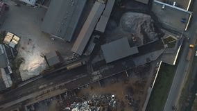 Aerial view of the industrial part of the city, metal processing plant stock video footage