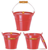 Metal red buckets  on white Stock Photos