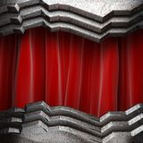 Metal on red curtain Stock Photo