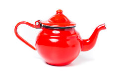 Metal red tea-kettle Royalty Free Stock Photography