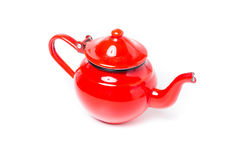Metal red teapot Royalty Free Stock Photography