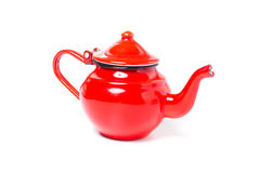Metal red teapot Stock Image