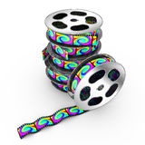 Metal reels. Of film on a white background Stock Images