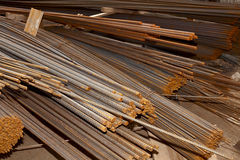Metal reinforcement rods. Rusty background Stock Photo