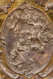 The metal relief of the Annunciation on the altar in Virgin Mary chapel Stock Photography
