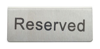 Metal Reserved Sign. Metal Table Reserved Sign Isolated on White Background stock photography