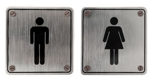 Metal restroom Signs stock photo