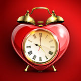 Metal retro style alarm clock in heart form. Metal retro style alarm clock in heart form on red background. Vector illustration Royalty Free Stock Images