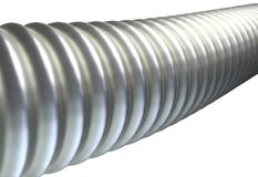 Metal ribbed hose isolated on white background 3d illustration Stock Image