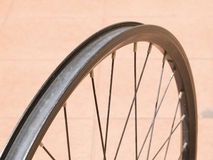 Metal rim bicycle wheel Stock Photography