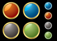 Metal rim buttons Stock Photos