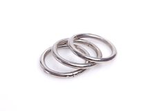 Metal rings completely isolated on white royalty free stock photo