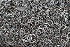Metal rings, detail. Metal shiny rings, details closeup royalty free stock image