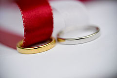 Metal rings with ribbons Stock Photo