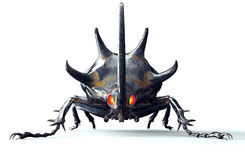 Metal robot insect  on white with clipping path Stock Photo