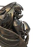 Metal robotic archangel. 3d image with steel robot angel