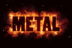 Metal rock music text on fire flames explosion. Burning Stock Photography