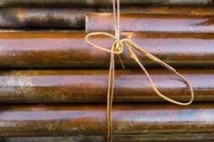 Metal rod rusty. Rusty metal rod associated background Royalty Free Stock Image