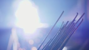 Metal rods on a blurred background of welding stock video footage