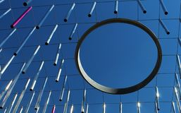 Metal rods and ring hoop hanging against blue sky - modern concept Stock Images