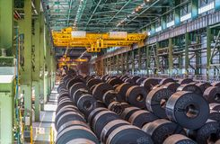 Metal rolling plant, rolls with sheet steel stock photo