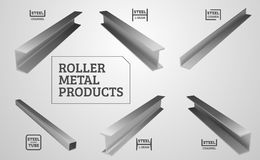 Metal rolling. Steel products. I-beam, steel corner and channel. Realistic vector illustration.  Royalty Free Stock Photos
