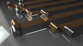 Metal rolls unrolling on grey background 3d render Royalty Free Stock Photo