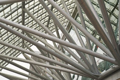 Metal roof. Futuristic business center metal roof construction close-up stock photography