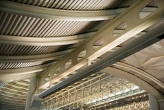 Metal roof construction. Airport of Hangzhou, China Stock Image