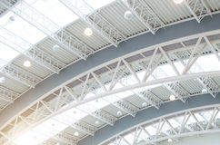 Metal roof interiors structure of modern building. Metal roof interiors structure of modern building Stock Photos