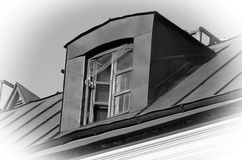 Metal roof with old attic. Royalty Free Stock Photography