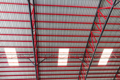 Metal roof. With red construction Royalty Free Stock Image