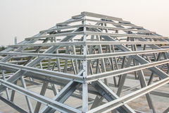 Metal roof structure. In construction site royalty free stock image