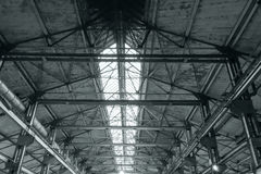 Metal roof structure of an old industrial building Royalty Free Stock Image