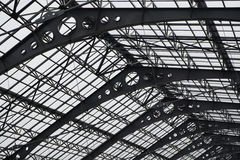 Metal roof texture. Close up view structure high roof Stock Photo