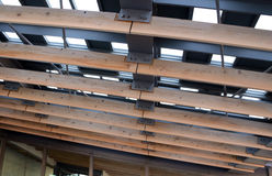 Metal roof with wood rafter. Detail of metal roof with wood rafter stock photos