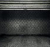 Metal room. Metal threadplate room with stainless steel door rolled up