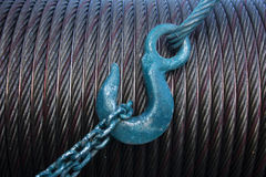 Metal rope and crane hook Stock Photos