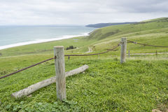Metal Rope Fence, Tunkalilla Beach, Fleurieu Peninsula, South Au Stock Photos