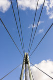 Metal ropes of suspension bridge Stock Photography
