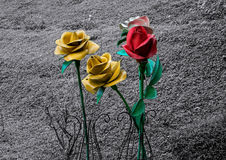 Metal roses. With black and white background Royalty Free Stock Photography