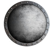 Metal round aged shield isolated on white Royalty Free Stock Photos