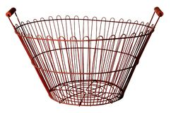 Metal round basket isolated on white background royalty free stock photography