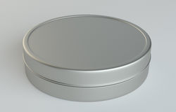 Metal round box on gray background. 3D illustration Royalty Free Stock Photography