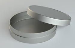Metal round box on gray background. 3D illustration Royalty Free Stock Images