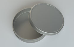 Metal round box on gray background Stock Image