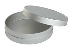Metal round box on white background. 3D illustration Stock Images